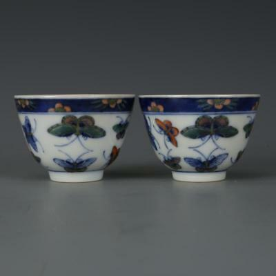 Beautiful A Pair Chinese Famille Rose Porcelain Butterfly Wine Cups