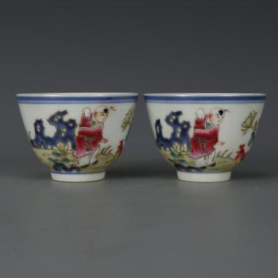 Beautiful A Pair Chinese Famille Rose Porcelain Characters Wine Cups