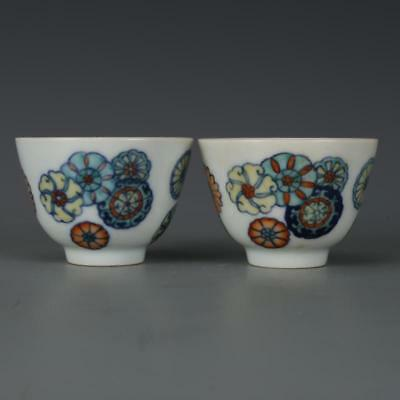 Beautiful A Pair Chinese Clash Color Porcelain Flowers Wine Cups