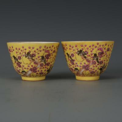 Beautiful A Pair Chinese Famille Rose Porcelain Wintersweet and Magpie Wine Cups