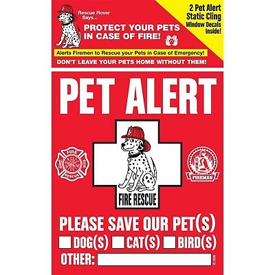 Pet Alert Safety Decals Four Count Static Cling Glass Surface Window Stickers