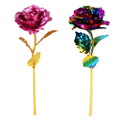 Valentine's Day 24K Gold Plated Golden Rose Flower Gift Wedding Party Decor