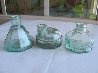 Lot Of Three Early Ink Bottles J & Iem,  Harrison's And Pontiled Umbrella