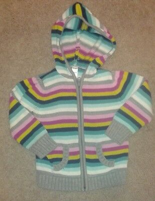 Old Navy Brand Girls Hooded Sweater, Size 3T, Rainbow Striped, Full Zip