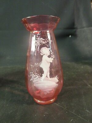 """Victorian 5"""" Cranberry Mary Gregory Paneled Vase Flared Top Child in Garden"""