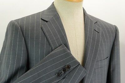 Ermenegildo Zegna Recent Gray Beaded Pinstripe Roma Fit Suit 50R Pants 33W 30L