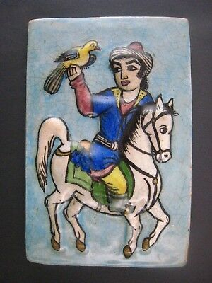 ANTIQUE PERSIAN  QAJAR POTTERY GLAZED TILE FALCONER ON HORSE 1800's..# 2