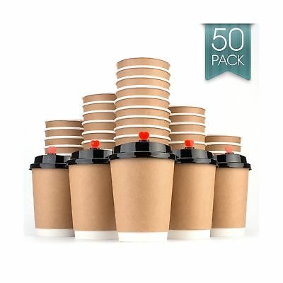 Disposable Coffee Cups Hot Insulated Paper Cups - With Lid and Stir Straw 12o...