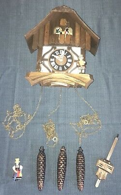 Vintage Cuendet Black Forest Chalet Cuckoo Clock 25-78 Dancers Great Condition!