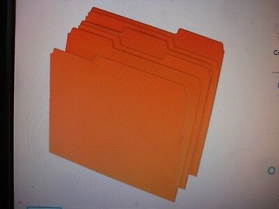 Staples Colored Top-Tab File Folders, 3 Tab, Orange, Letter Size, 100/Pack