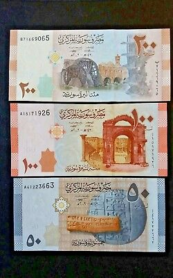 SYRIA / Lot of 3 Notes  200 100 50 Syrian Pounds (2009) / UNC