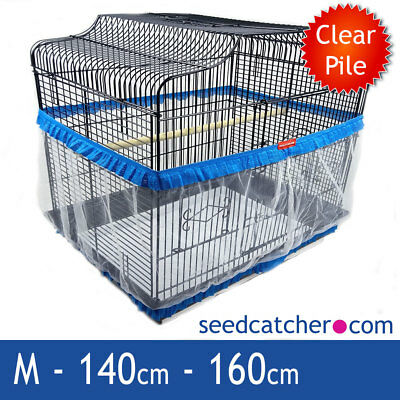 Bird Cage Seed Catcher Guard Tidy Pile Fabric Blue Medium 160cm Double Strap