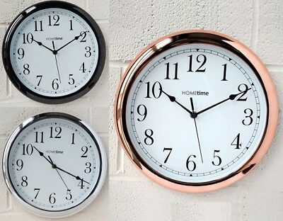 Hometime Copper Wall Clock Deep Case or Black Chrome Effect Vintage Style