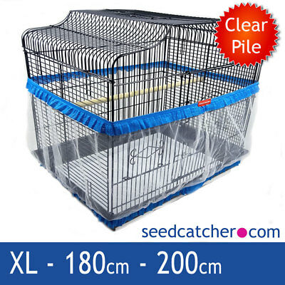Bird Cage Seed Catcher Guard Tidy Pile Fabric Blue XL 200cm Double Strap