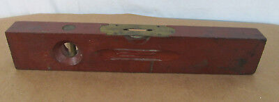 """Vintage Sargent & Co. Wood & Brass Level 14"""" #189 Red Woodworking Tool"""