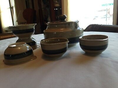 Bean Pot and 4 bowls-- Light Green with Darker Green, Navy and Black Stripe,