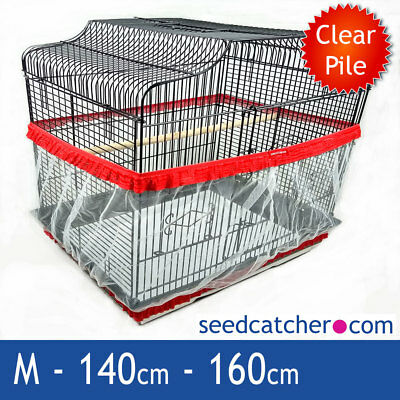 Bird Cage Seed Catcher Guard Tidy Pile Fabric Red Medium 160cm Double Strap
