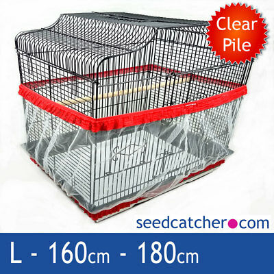Bird Cage Seed Catcher Guard Tidy Pile Fabric Red Large 180cm Double Strap