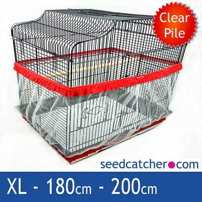 Bird Cage Seed Catcher Guard Tidy Pile Fabric Red XL 200cm Double Strap