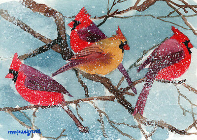 ACEO Limited Edition- Vivid in snow, Cardinal in snow, Gift idea for bird lovers