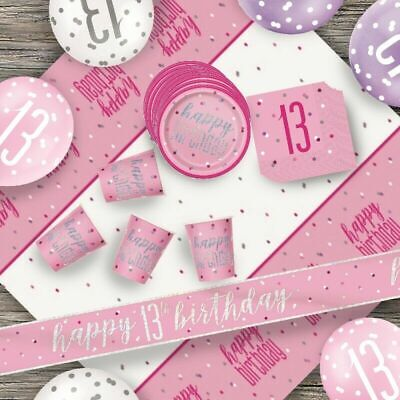 Glitz Pink 13th Birthday Party Tableware Decoration Plates Banners Candle Age