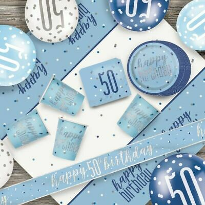 Glitz Blue 50th Birthday Party Tableware Decoration Plates Banners Candle Age 50