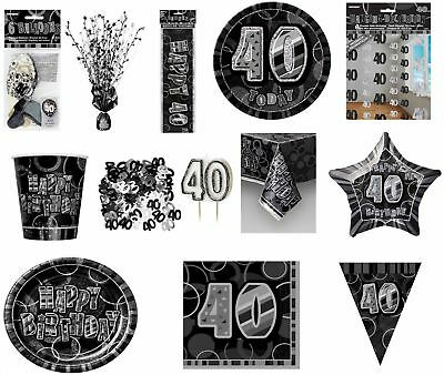 Glitz Black/Silver 40th Birthday Party Tableware Decoration Plates Banners Age40