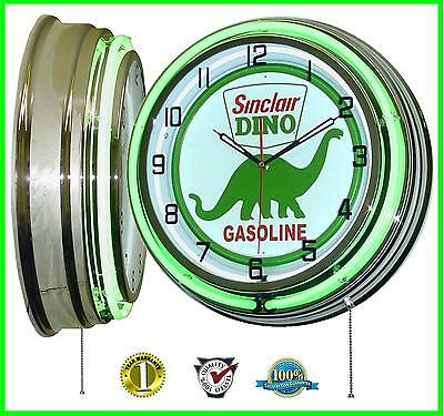 "18"" Sinclair Dino Gasoline Motor Oil Gas Station Sign Double Neon Clock"