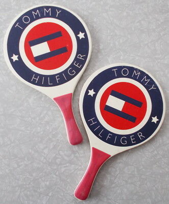 Pair Vintage Tommy Hilfiger Flag Advertising Display Paddle Ball Paddles