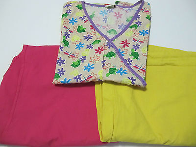 Womans Scrub Lot Top Xl And Two Pants Xl Petite  Dickies And Sierra  Pink Yellow