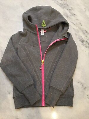 Ivivva by Lululemon Girls Size 8 Zip Hooded Jacket Sweatshirt gray pink zipper