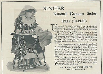 1898 Magazine Ad, Singer Sewing Machine. Italy. Naples. National Costume Series