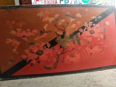 Antique Chinese / Japanese Art Laquerware Side Table, Hinged, Absolutely Unique