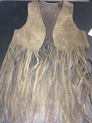 Vintage Genuine Leather Suede Vest Long Fringe 1960's Hippie Size Sm To Med C90