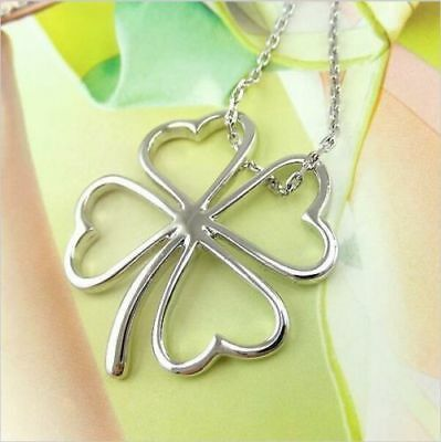Fashion Metal Silver FOUR LEAF CLOVER Pendant  CHARM  Jewelry Necklace SHAMROCK