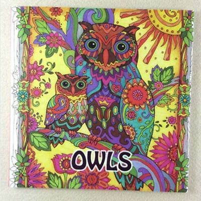 OWLS Animal Adult Coloring Book Print Paint Kids Antistress Relieve Stress