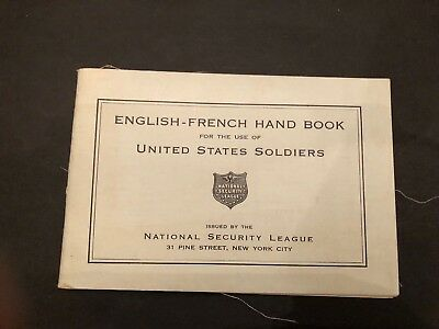 1917 English-French Hand Book for  Use of United States Soldiers  WWI ORIGINAL