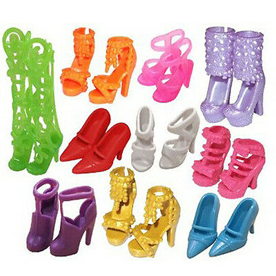 FX- 10Pairs Fashion Assorted Different Shoes Boots for Barbie Doll Girls Toy Ref