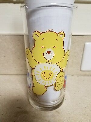 """Pizza Hut Care Bears """"Funshine Bear"""" Collector's Drinking Glass from 1983"""