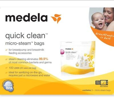 ****medela quick clean micro-steam bags  -FIVE BAGS -NEW-