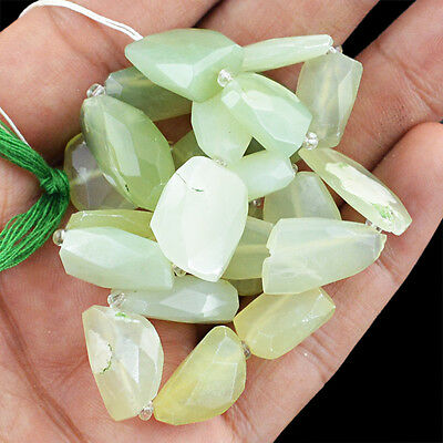181.60 Cts Natural Rich Golden Green Phrenite Faceted Beads Gemstone Strand