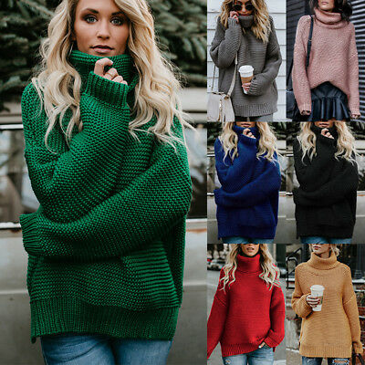 Womens Polo Neck Baggy Pullover Tops Chunky Knitted Oversized Sweater Jumper AU