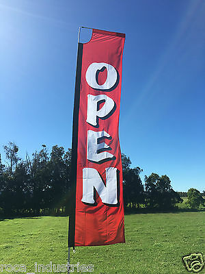 OPEN Flat Top Flag complete with pole & ground spike