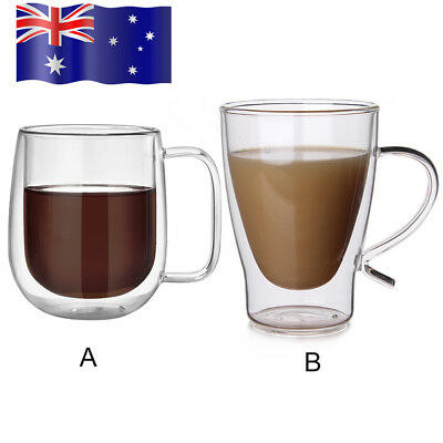 Au 300ml Insulated Double Walled Glasses Coffee Mugs With Handle Tea