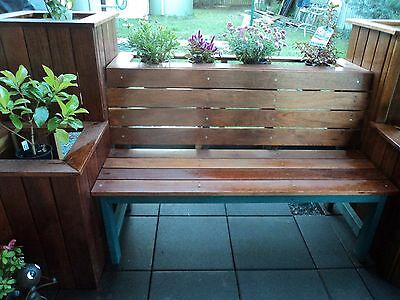solid timber outdoor seat/bench, 3 seater, varnished for the garden, patio, bbq