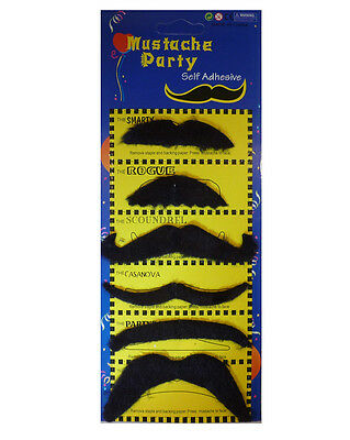 Black Stick on Fake Moustache Pack of 6 Mixed Self Adhesive Party Joke Mustache
