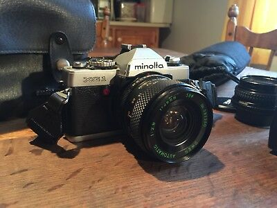 minolta xg-1 camera With 3 Lenses - Flash - Leather Case