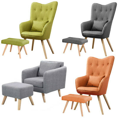 Modern Tufted Accent Tub Easy Wingback Chair Armchair With Pillow Footstool