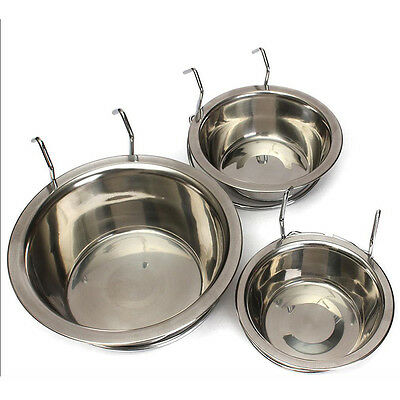 Stainless Steel Bolt On Hook Dog Bowl Bowls Cage Crate Run Pet Cat Rabbit zzvv