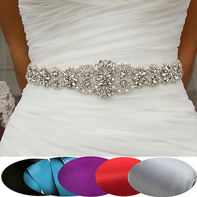 FX- Deluxe Rhinestone Bridal Sash Waist Belt Satin Ribbon Wedding Party Dress